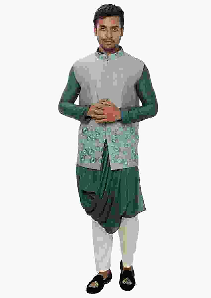 Green Cowl Drape Kurta With A Tonal Threadwork Embroidered Nehru Jacket Online - Kalki Fashion