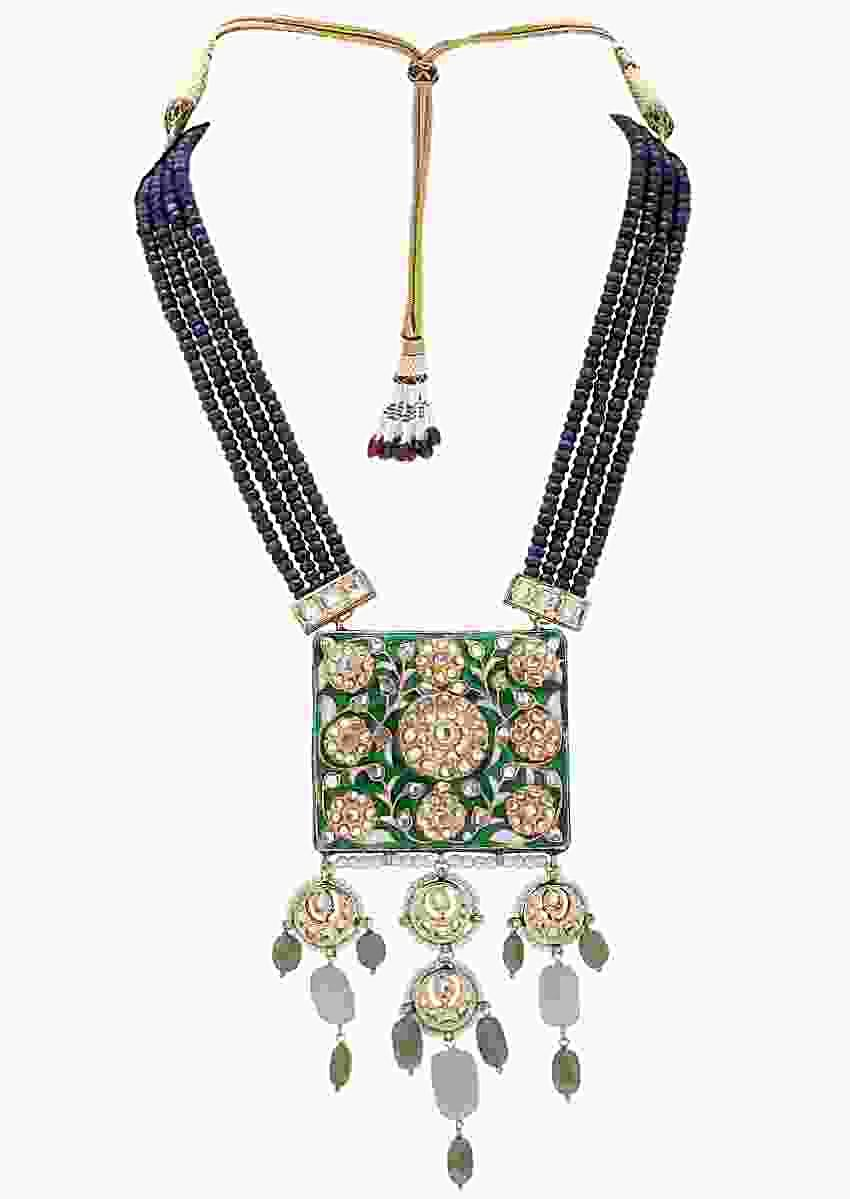 Green Enamelled Kundan Pendant Necklace With Blue Agate Bead Strings And Jades Online - Joules By Radhika