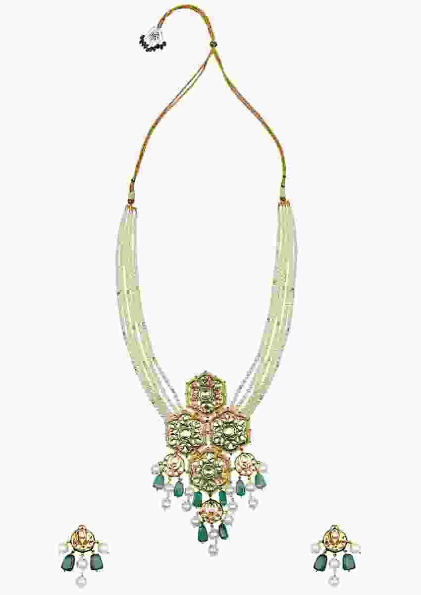Green Enamelled Necklace And Earrings Set With Kundan, Jade And Shell Pearls Strings Online - Joules By Radhika