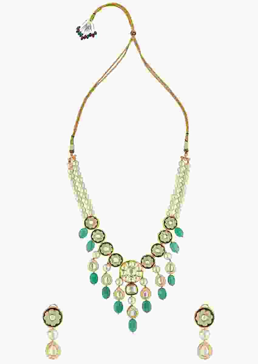 Green Enamelled Necklace And Earrings Set With Kundan, Quartz Beads And Shell Pearls Online - Joules By Radhika