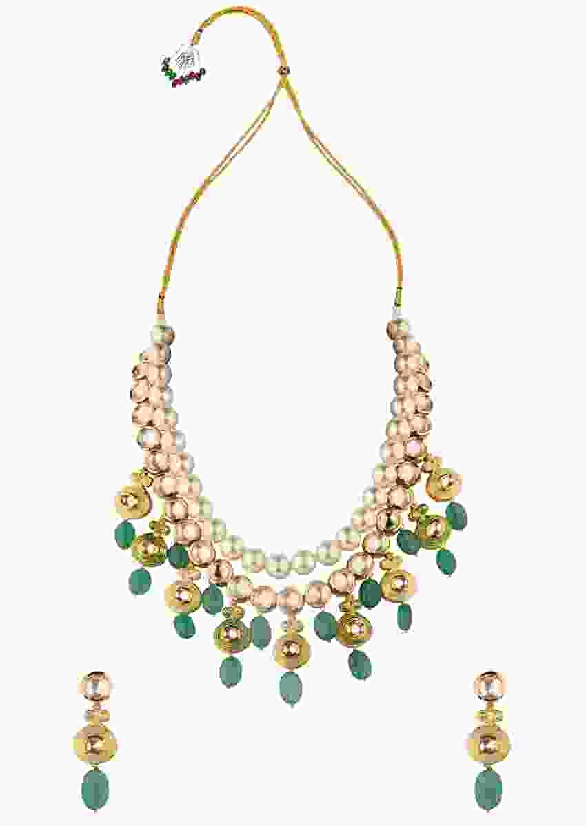 Green Enamelled Necklace Set Adorned With Kundan, Jade Drops And Shell Pearls Online - Joules By Radhika