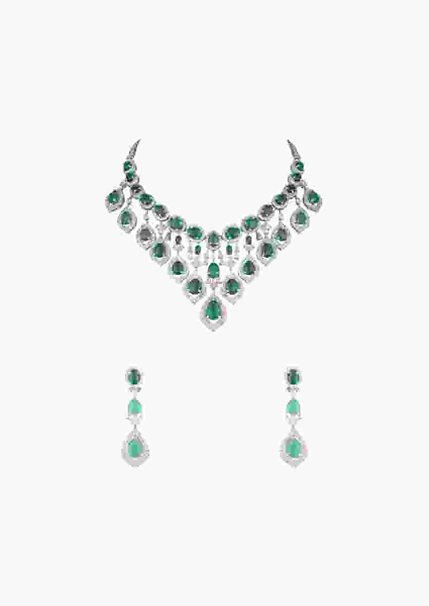 Green Faux Emerald Studded Necklace And Earrings Set With Faux Diamonds In An Elegant Design By Aster