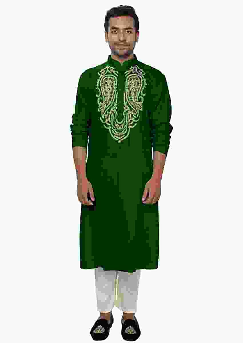 Green Golden Kurta Set With Zari Embroidery Online - Kalki Fashion