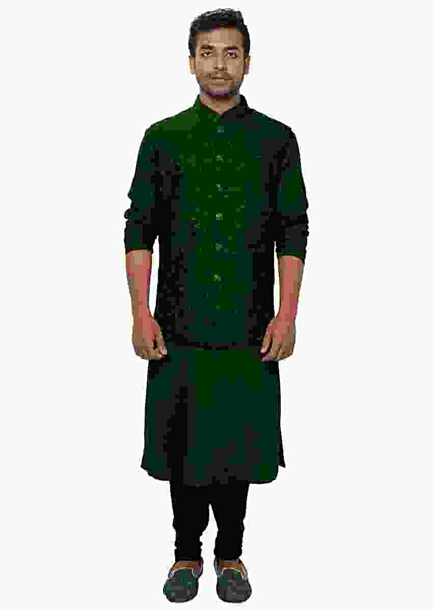 Green Kurta & Churidar With A Green Floral Threadwork Embroidered Nehru Jacket Set Online - Kalki Fashion