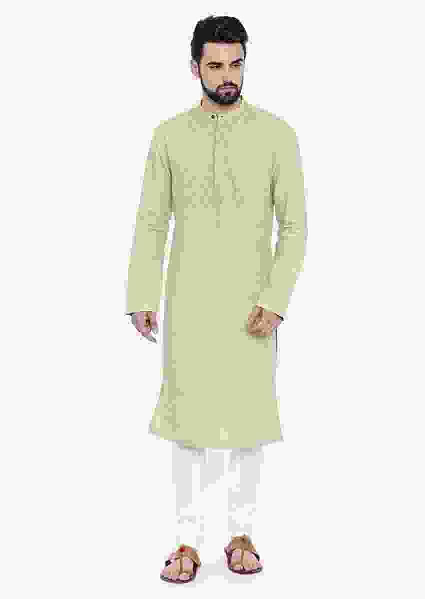 Green Kurta And Churidar Set In Linen With Running Stitches In Geometric Pattern On The Yoke By Mayank Modi