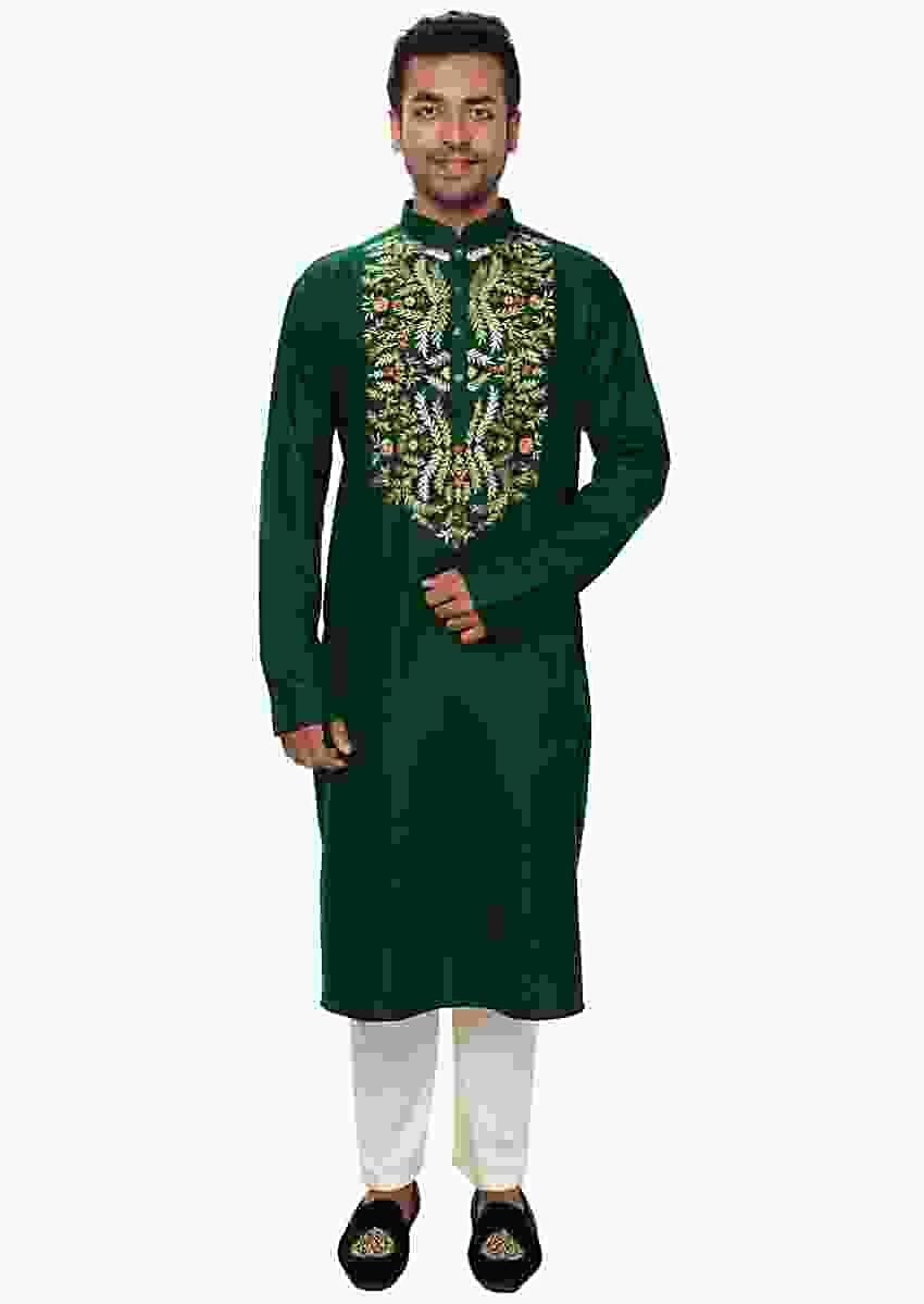 Green Kurta Set With Multicolor Threadwork Embroidery Online - Kalki Fashion