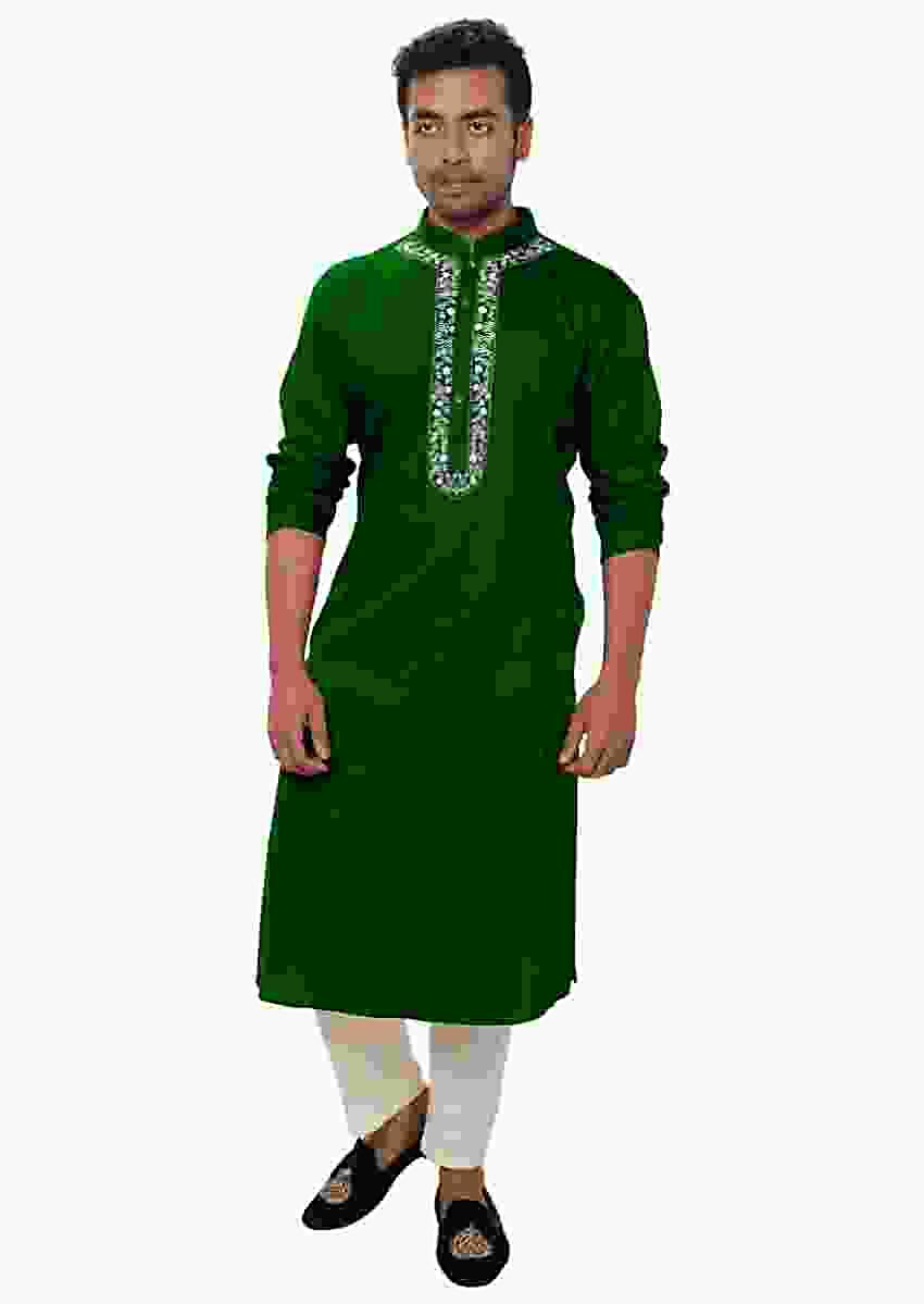 Green Kurta Set With White Threadwork Embroidery Online - Kalki Fashion