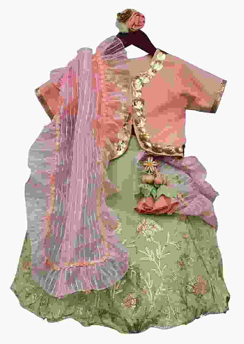 Green Lehenga And Peach Choli With Embroidered Floral Pattern By Fayon Kids