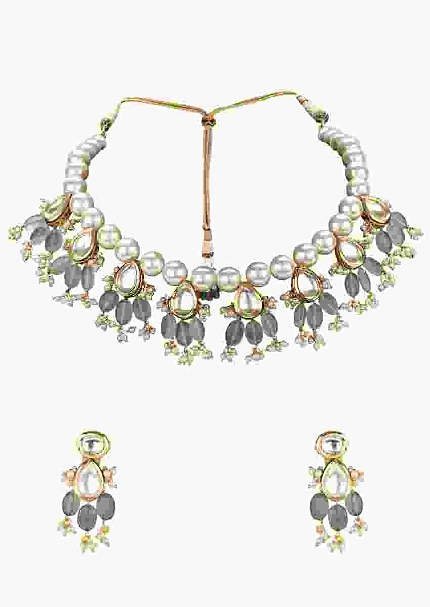 Green Necklace Made Of Shell Pearls, Imitation Polki And Jade Stone  Online - Joules By Radhika