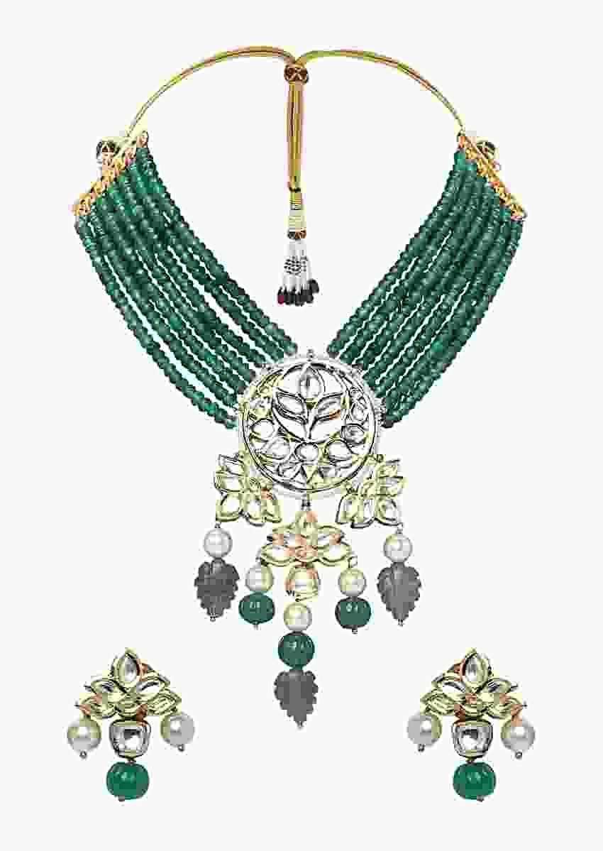 Green Necklace Set With Bead Strings And Polki Pendant With Jade, Grey Quartz And Pearls Online - Joules By Radhika