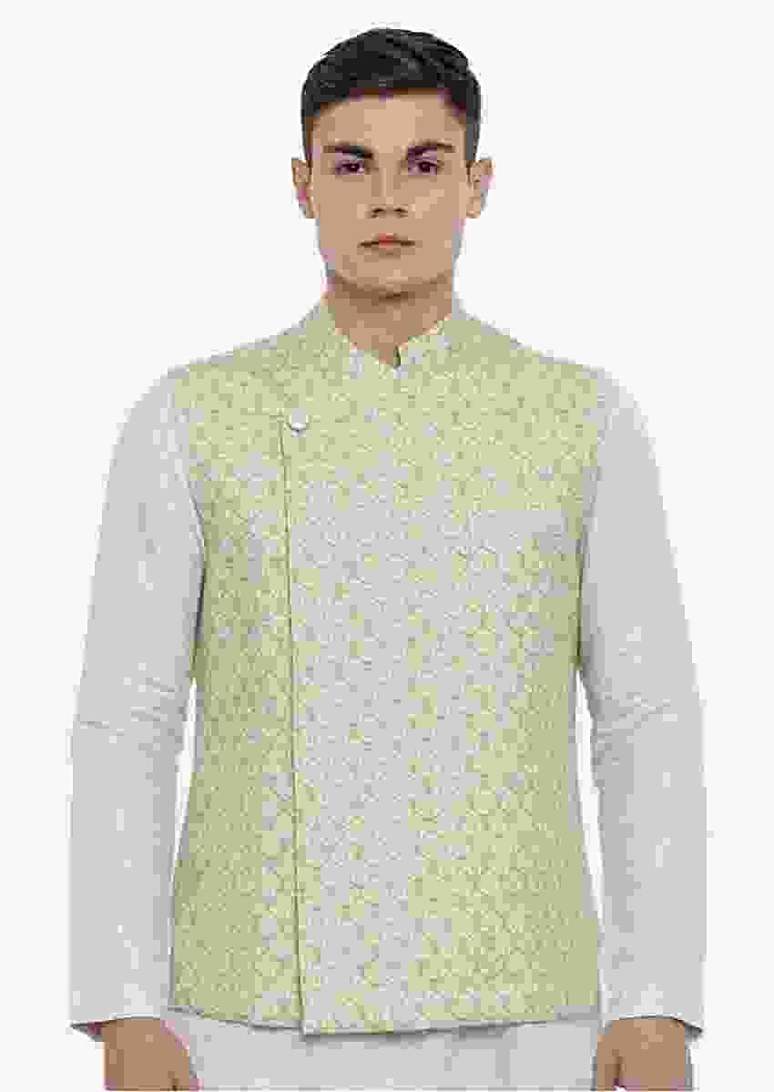Green Nehru Jacket In Linen With Jaal Print All Over And Fancy One Sided Placket By Mayank Modi