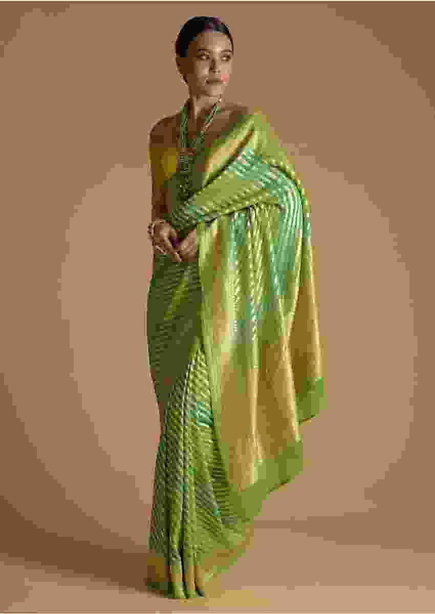 Green Shaded Khadi Georgette Saree With Weaved Stripes Online - Kalki Fashion
