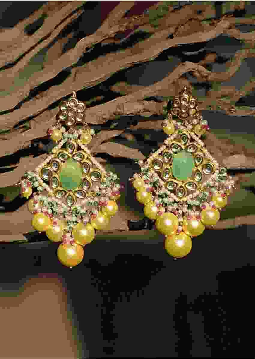 Green Stone Studded Ethnic Earrings With Kundan And Dangling Colorful Beads And Yellow Pearls Kohar By Kanika