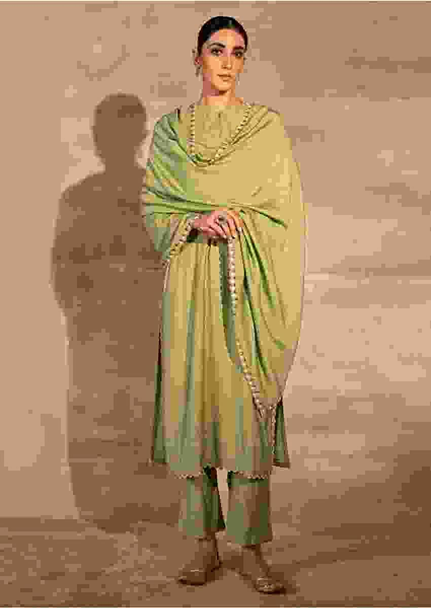 Green Straight Fit Kurta Set With Matching Pants And Mirror Embellished Dupatta Online - Kalki Fashion