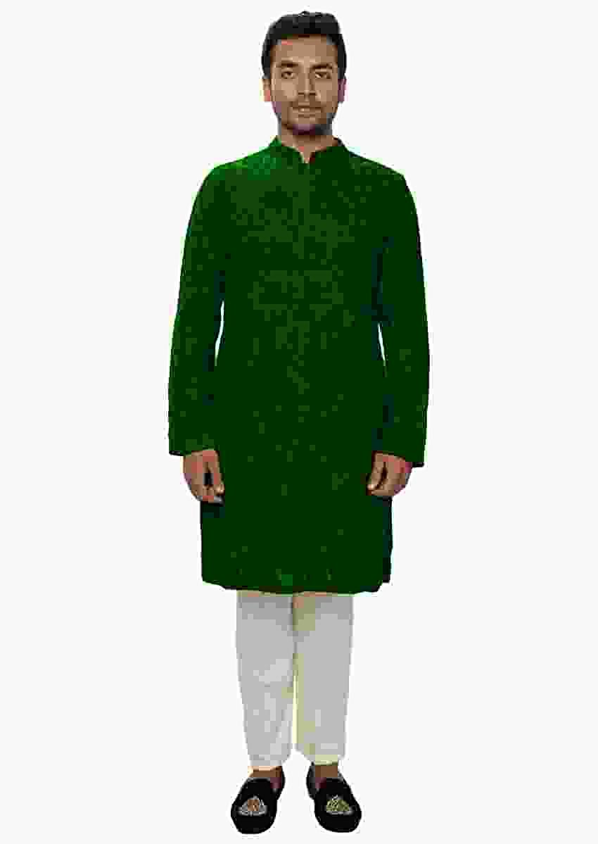 Green Kurta Set With , All Over Ari Embroidery Online - Kalki Fashion