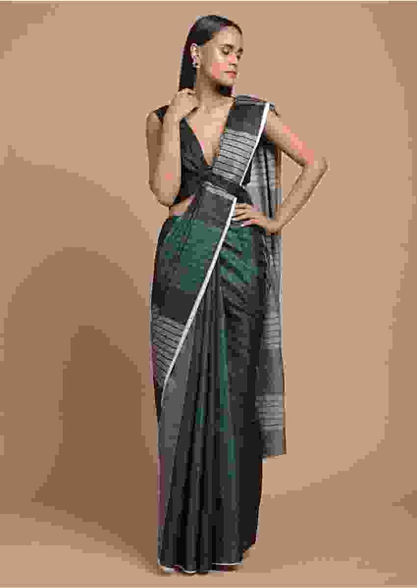 Green, Black And Grey Saree In Silk Blend With Color Block Print And Striped Pallu Online - Kalki Fashion