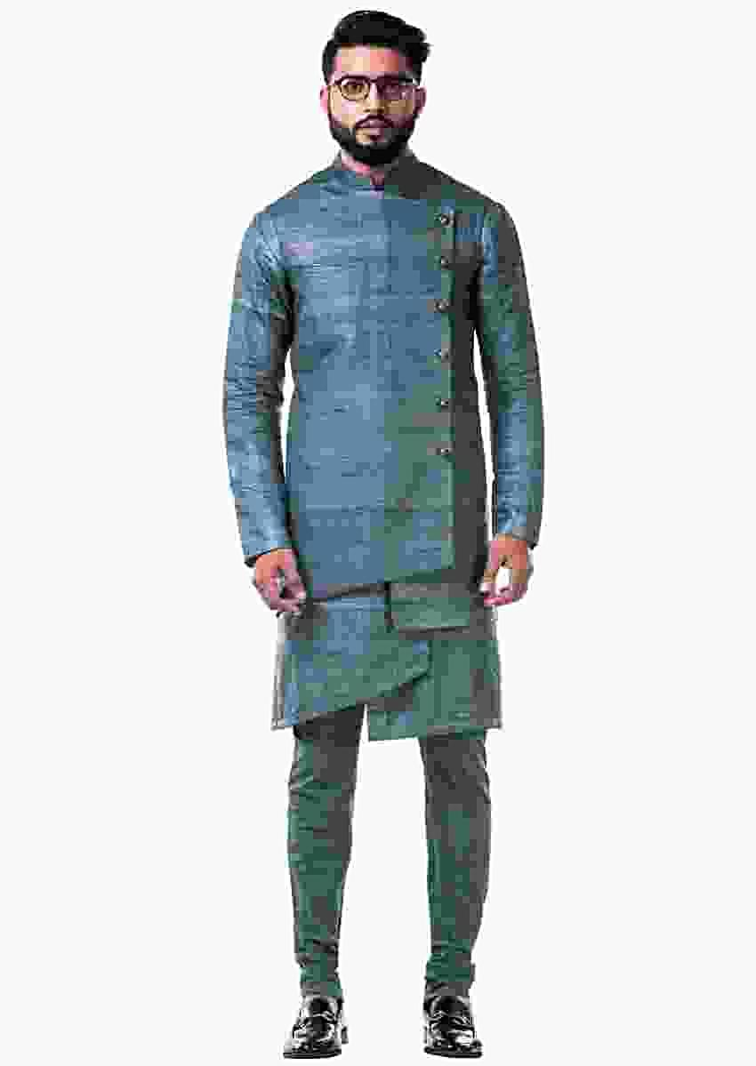 Green Overlapped Ghicha Kurta And Jacket Set Online - Kalki Fashion