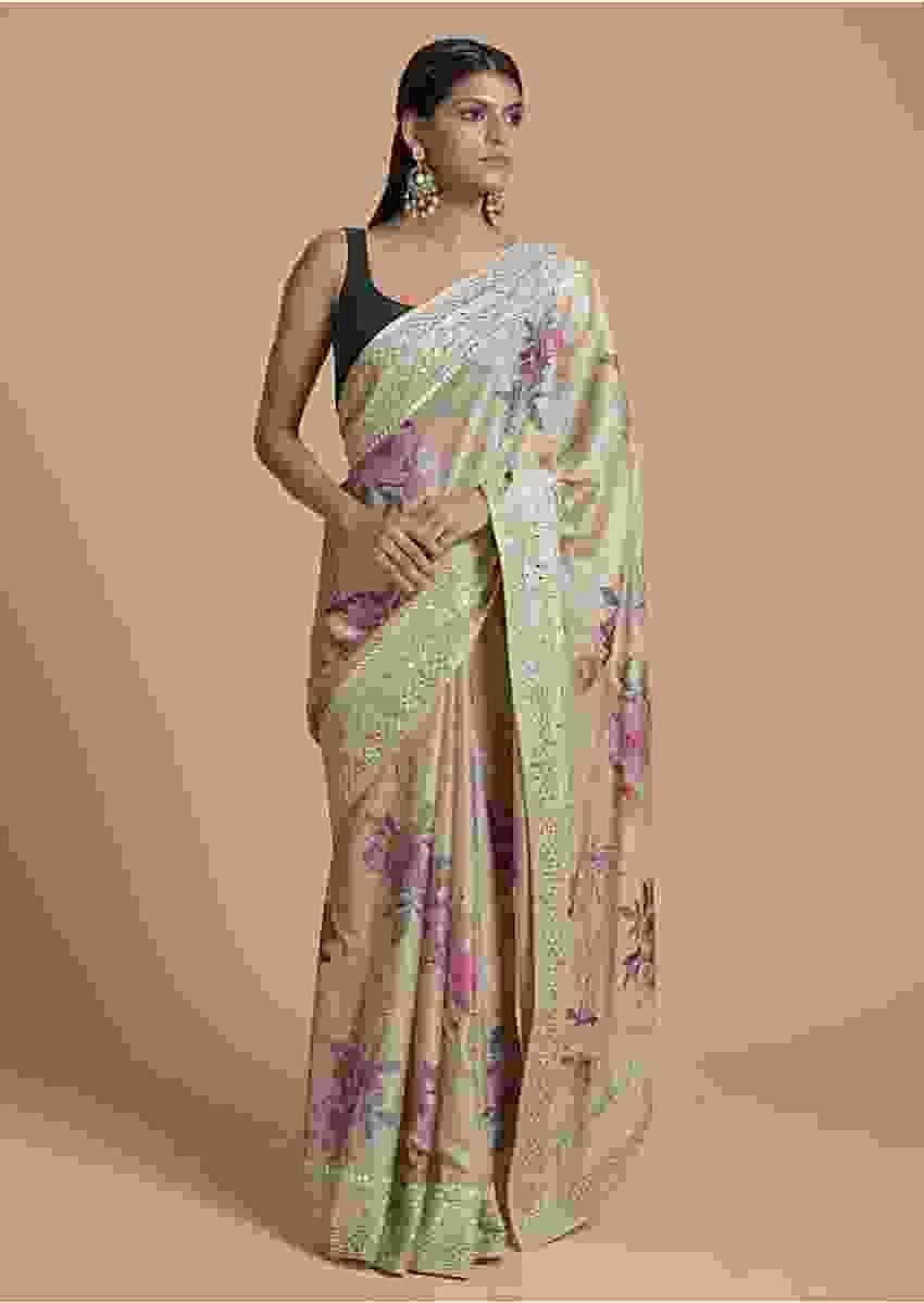 Greenish Beige Saree In Satin Crepe With Floral Print And Gotta Patti Embroidered Border Online - Kalki Fashion