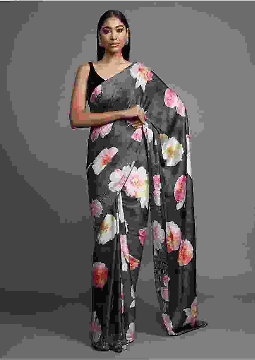 Greenish Grey Saree In Satin Blend With Floral Print And Kundan Work Online - Kalki Fashion