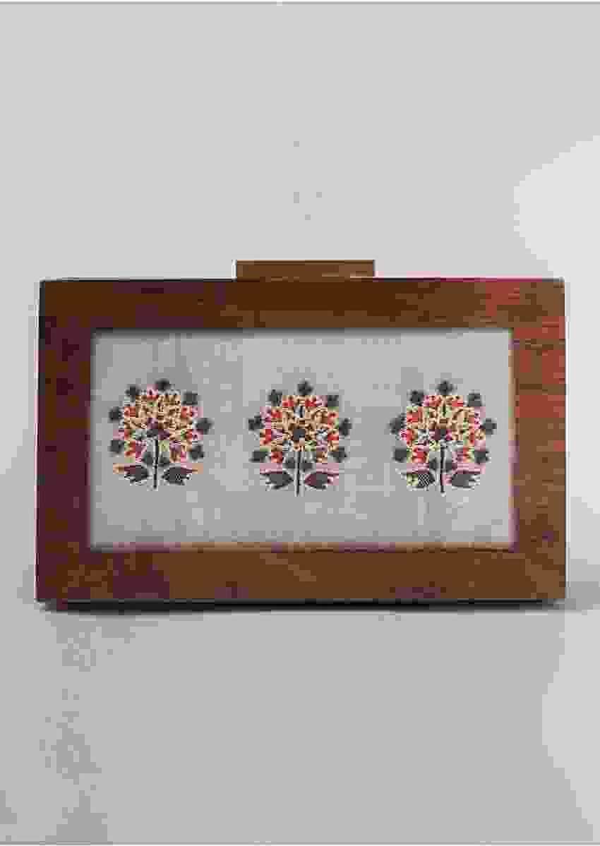Grey Box Clutch In Cotton Satin With Floral Print Along With French Knots And Gold Zari Work By Vareli Bafna