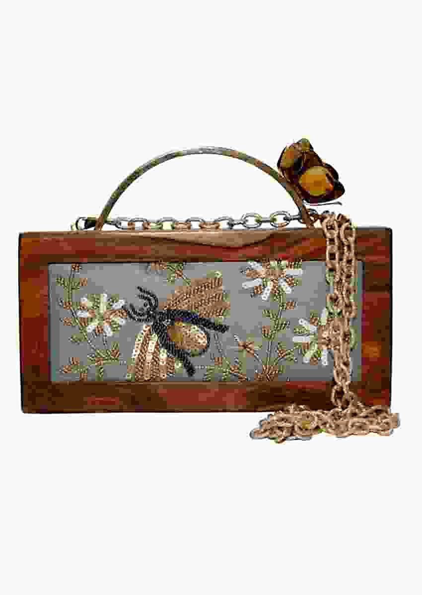 Grey Box Clutch With Wooden Frame And Hand Embellished Bee Online - Kalki Fashion