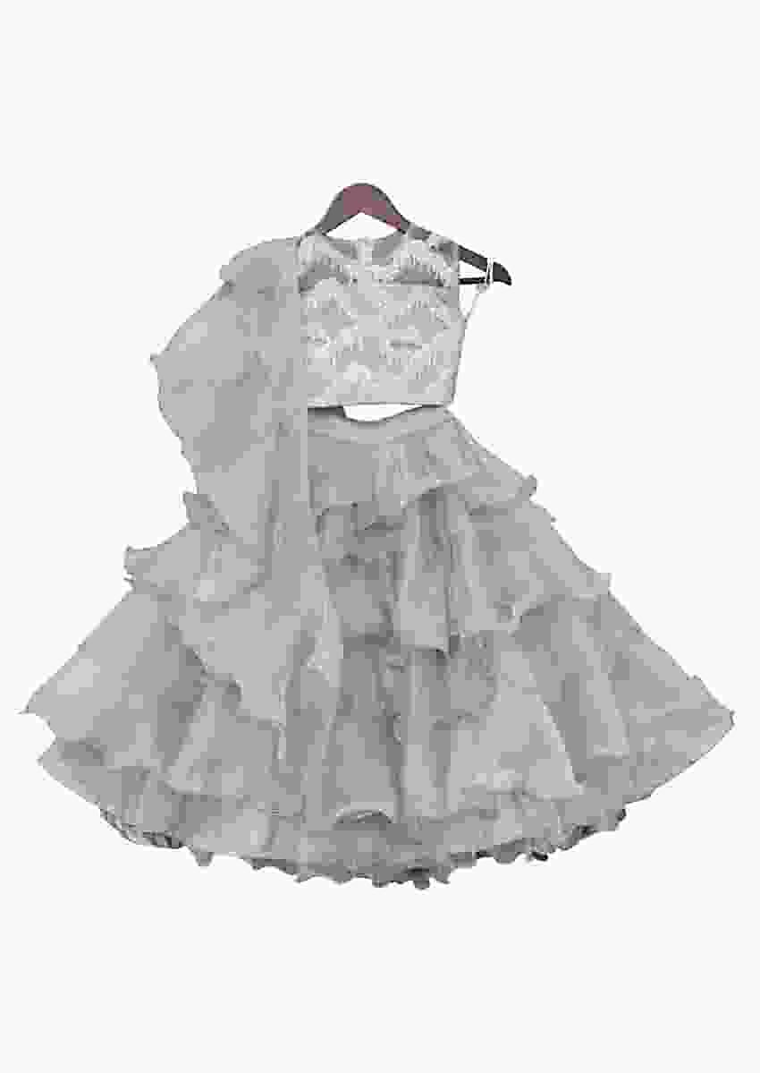 Grey Choli With Frill Lehenga And Dupatta by Fayon Kids