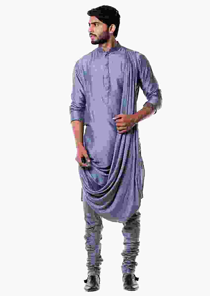 Grey Cowl Kurta Set Online - Kalki Fashion