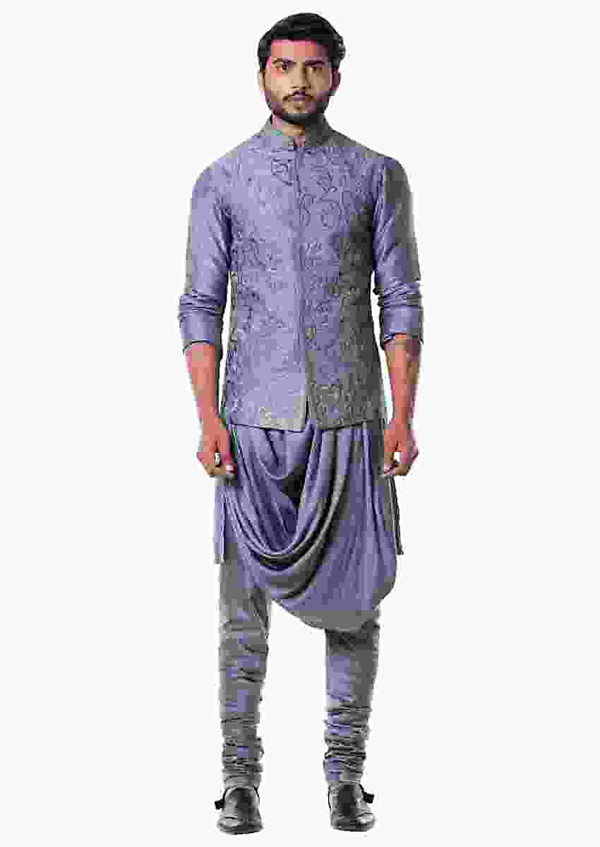 Grey Cowl Kurta With Full Embroidered Grey Waist Coat Set Online - Kalki Fashion