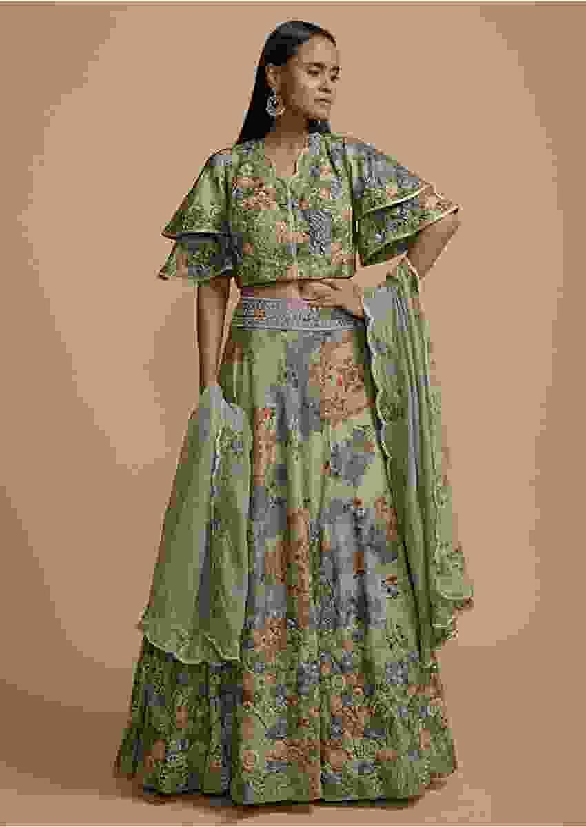 Grey Green Skirt And Crop Top Set With Floral Print And Thread Embroidery Online - Kalki Fashion