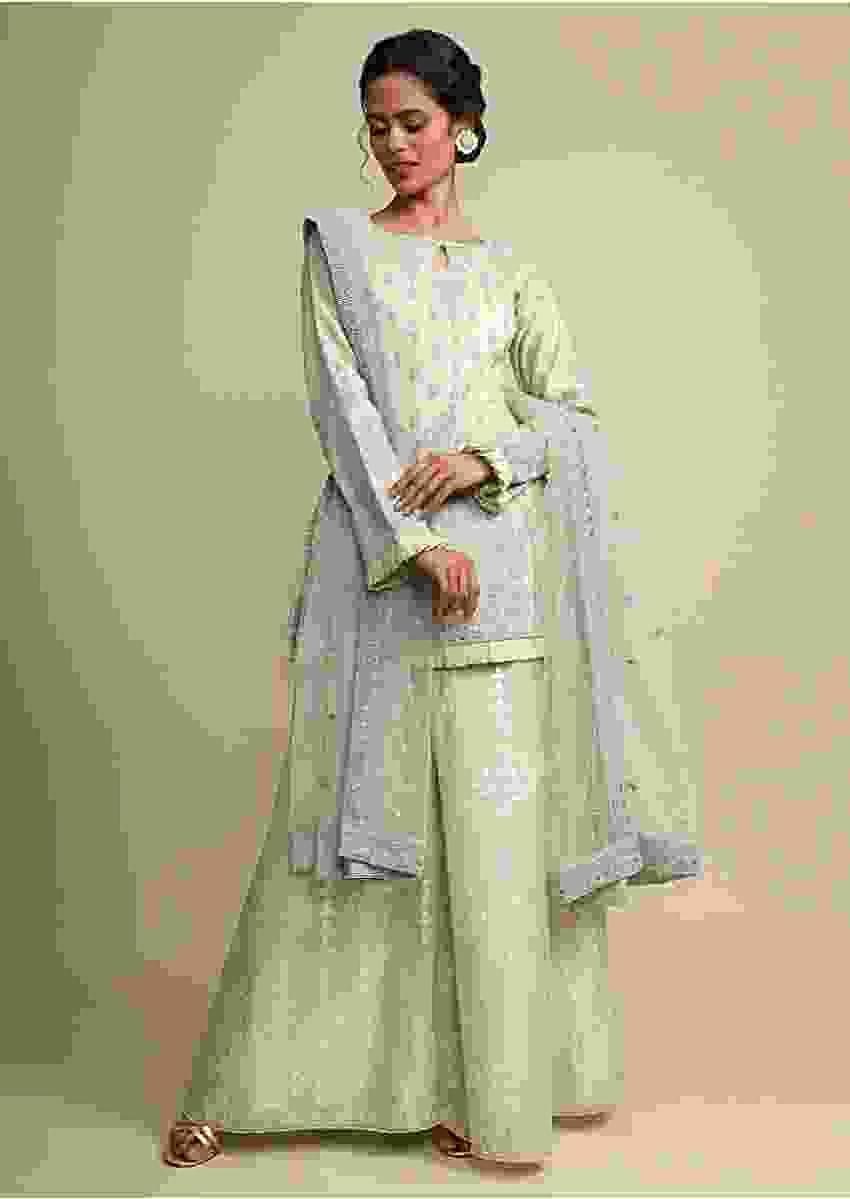 Greenish Grey Palazzo Suit In Cotton Silk With Heavy Thread Embroidery Online - Kalki Fashion