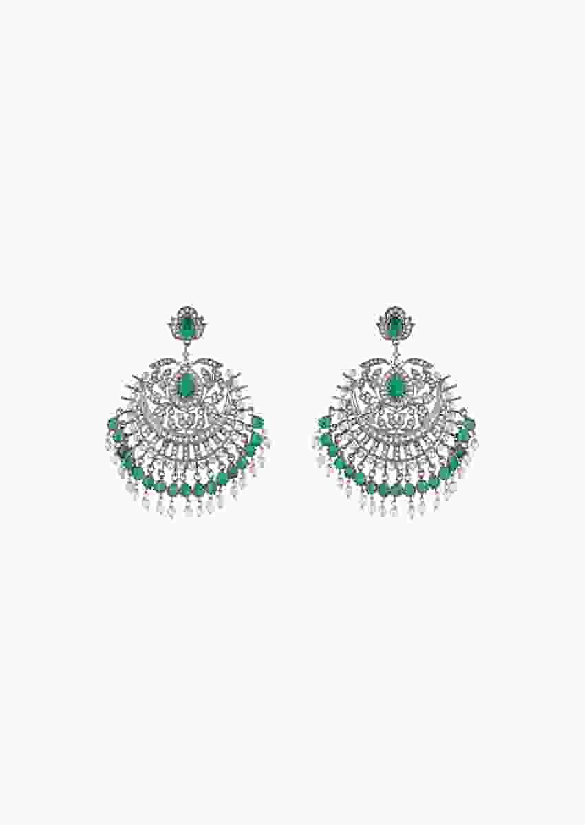 Grey Plated Chandelier Earrings With Faux Emeralds, Diamonds And Pearls In An Ethnic Design By Aster