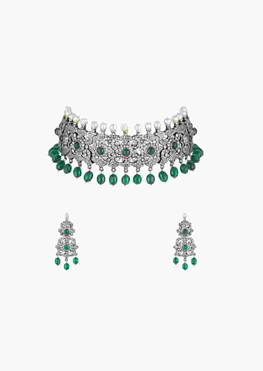 Grey Plated Choker Necklace And Earrings Set With Faux Diamonds, Moti And Dangling Green Beads By Aster