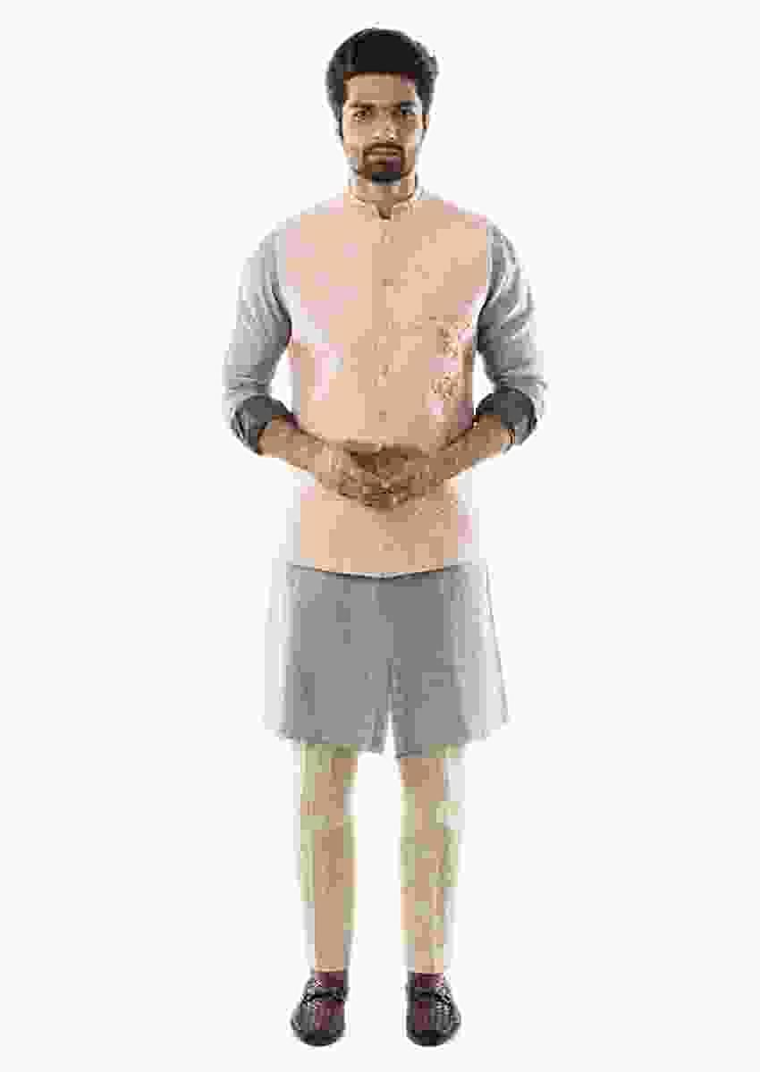 Grey Shaded Sleeves Kurta Set Paired With A Pin Tuck Pant Pajama And Pink Hand Embroidered Quilted Nehru Jacket Online - Kalki Fashion