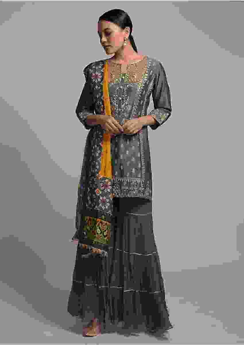 Grey Sharara Suit With With Zardosi Embroidered Buttis And Patola Printed Dupatta Online - Kalki Fashion