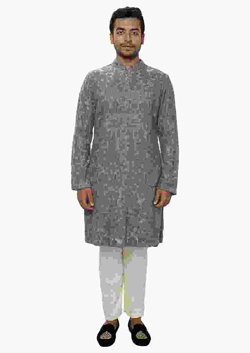 Grey Kurta Set With , All Over Ari Embroidery Online - Kalki Fashion