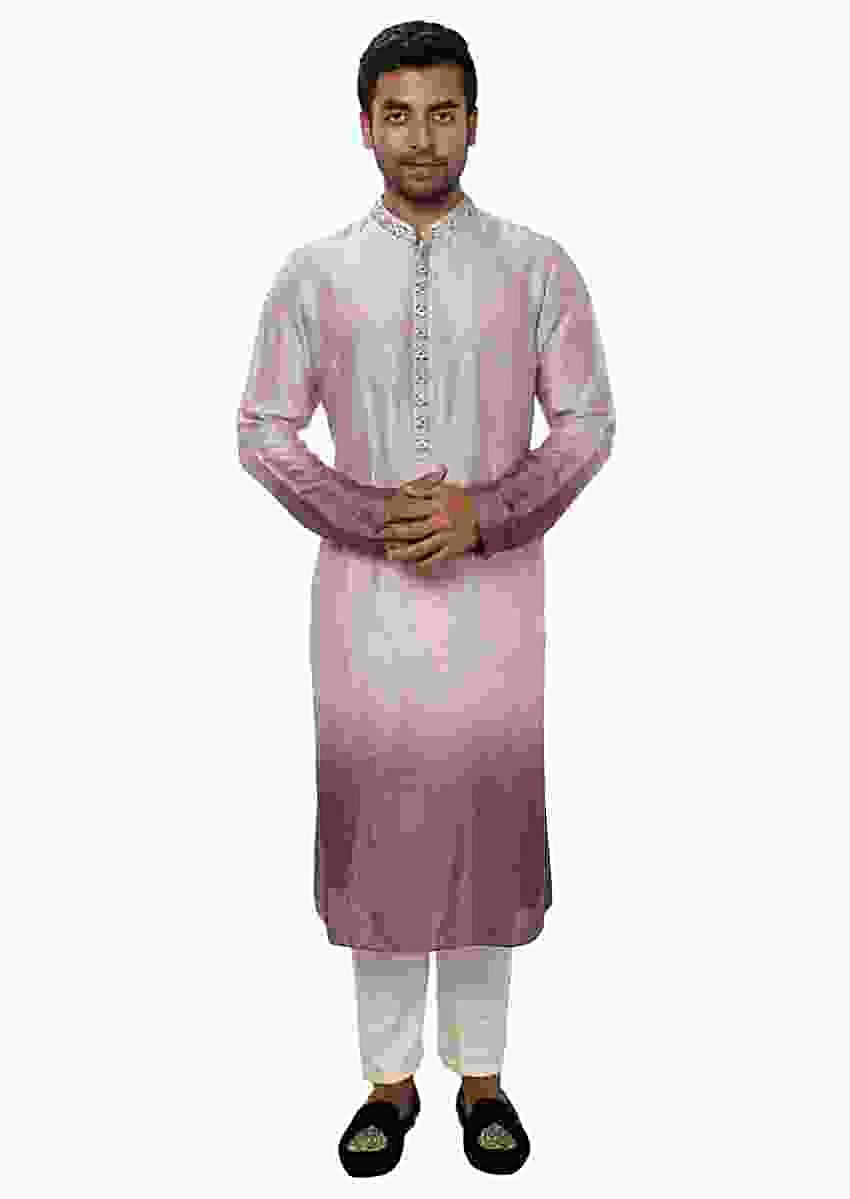 Kurta Set With Hand Embroidery And Shaded Ombre Effect Online - Kalki Fashion