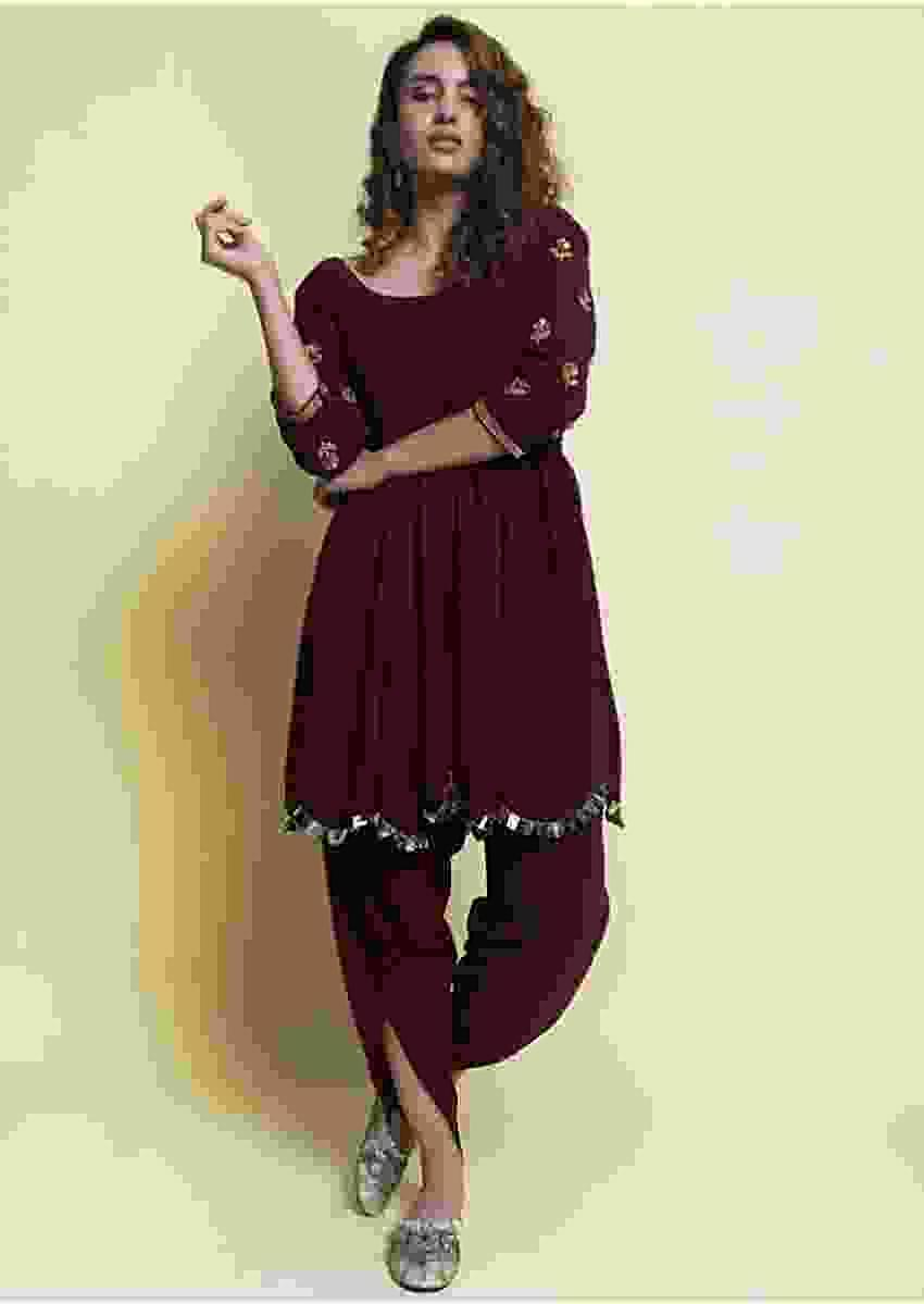 Wine Suit In Heavy Georgette With Matching Dhoti Pant Online - Kalki Fashion