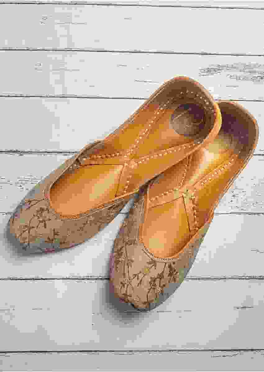 Hippo Grey Juttis In Cotton Satin With Printed Vine And Golden Zari Work By Vareli Bafna