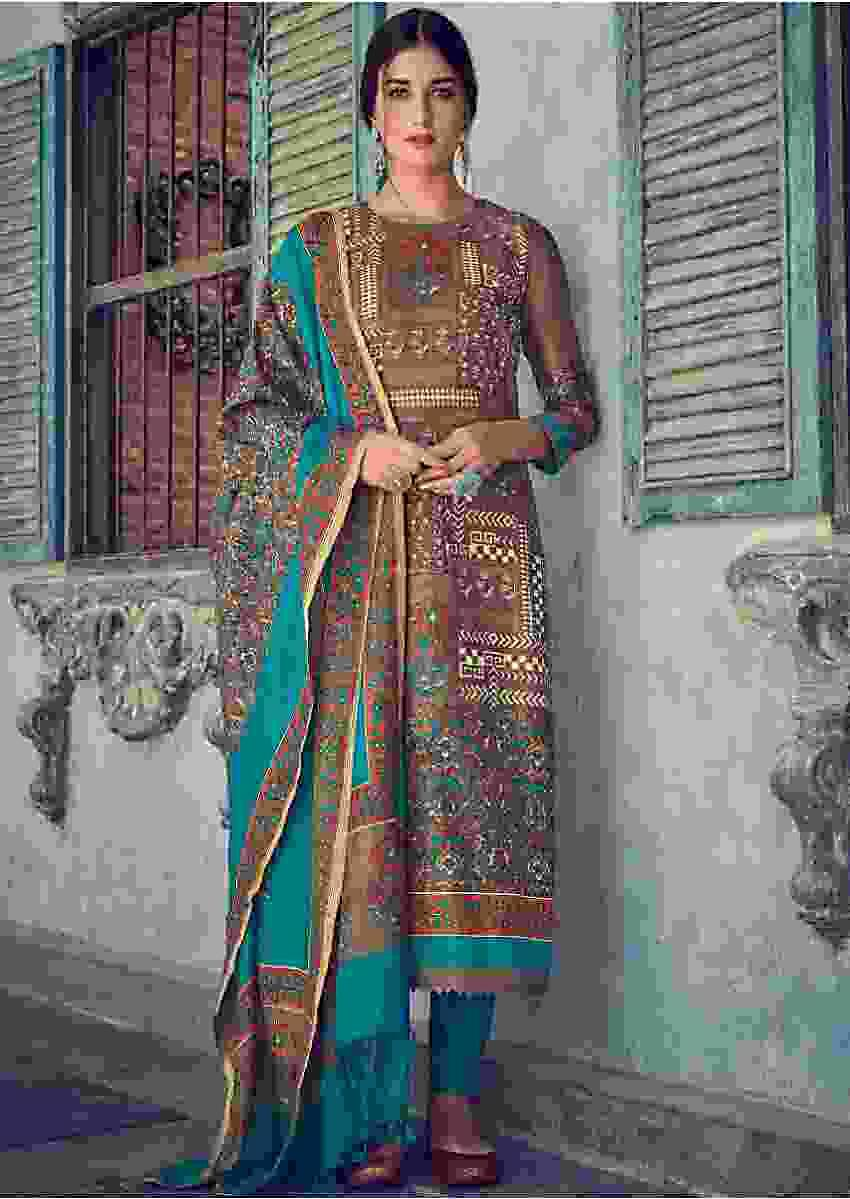 Hippo Grey Suit In Tussar Silk With Block Print, Batik Print And Zari Work Online - Kalki Fashions