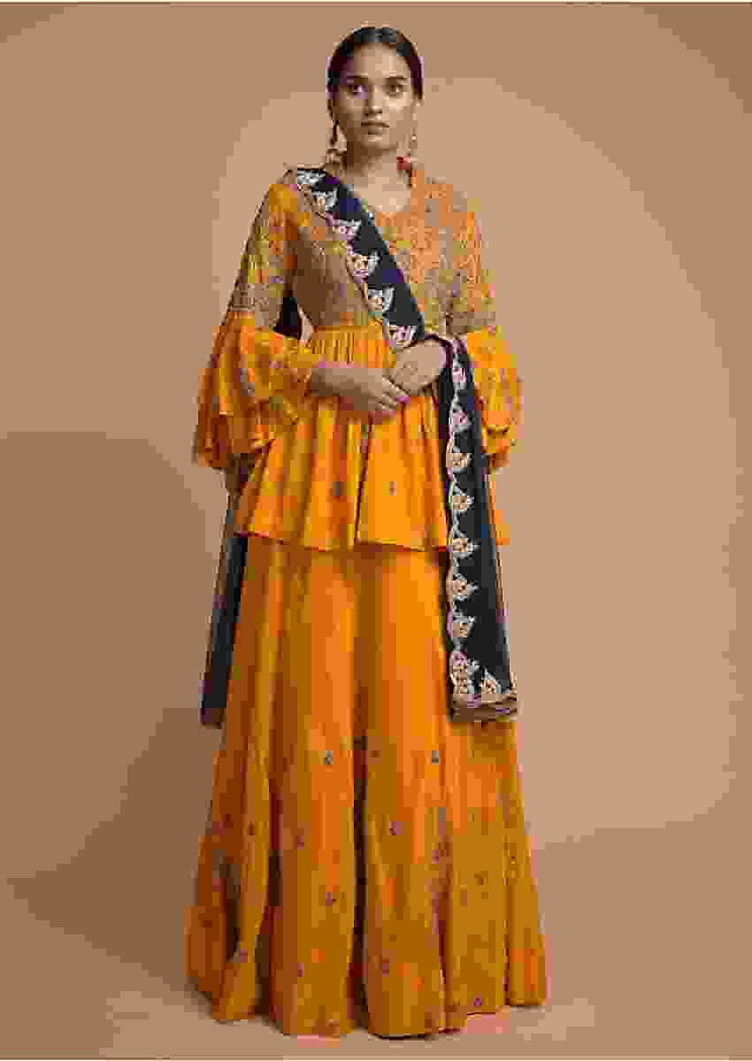 Honey Yellow Lehenga And Peplum Top With Zardosi Work In Heritage Floral Motifs Online - Kalki Fashion