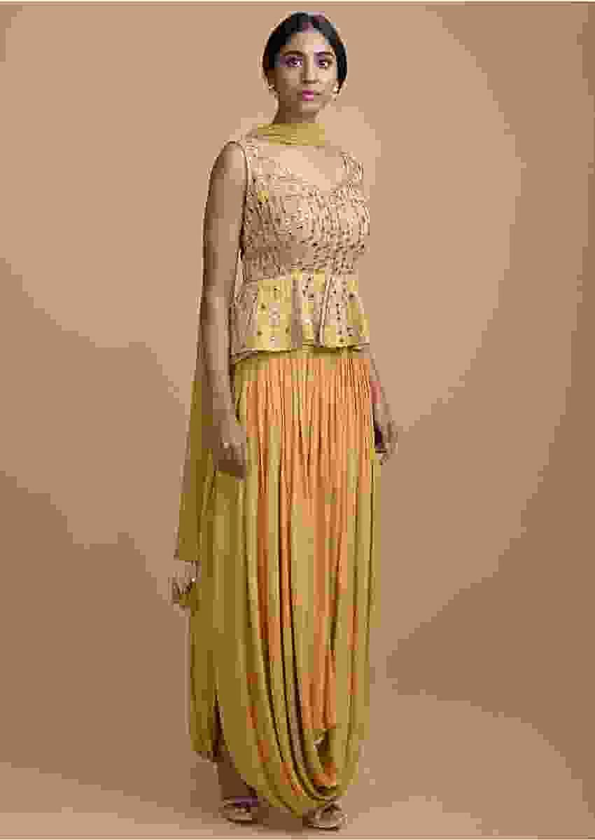 Honey Yellow Sleeveless Peplum Top And Matching Skirt With Cowl Drape Online - Kalki Fashion