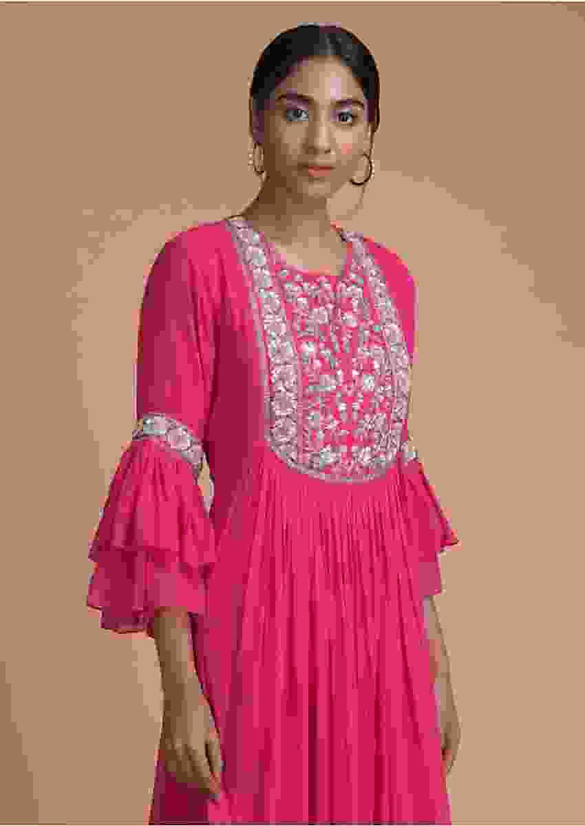 Hot Pink Indowestern Gown With Embellished Floral Placket Online - Kalki Fashion