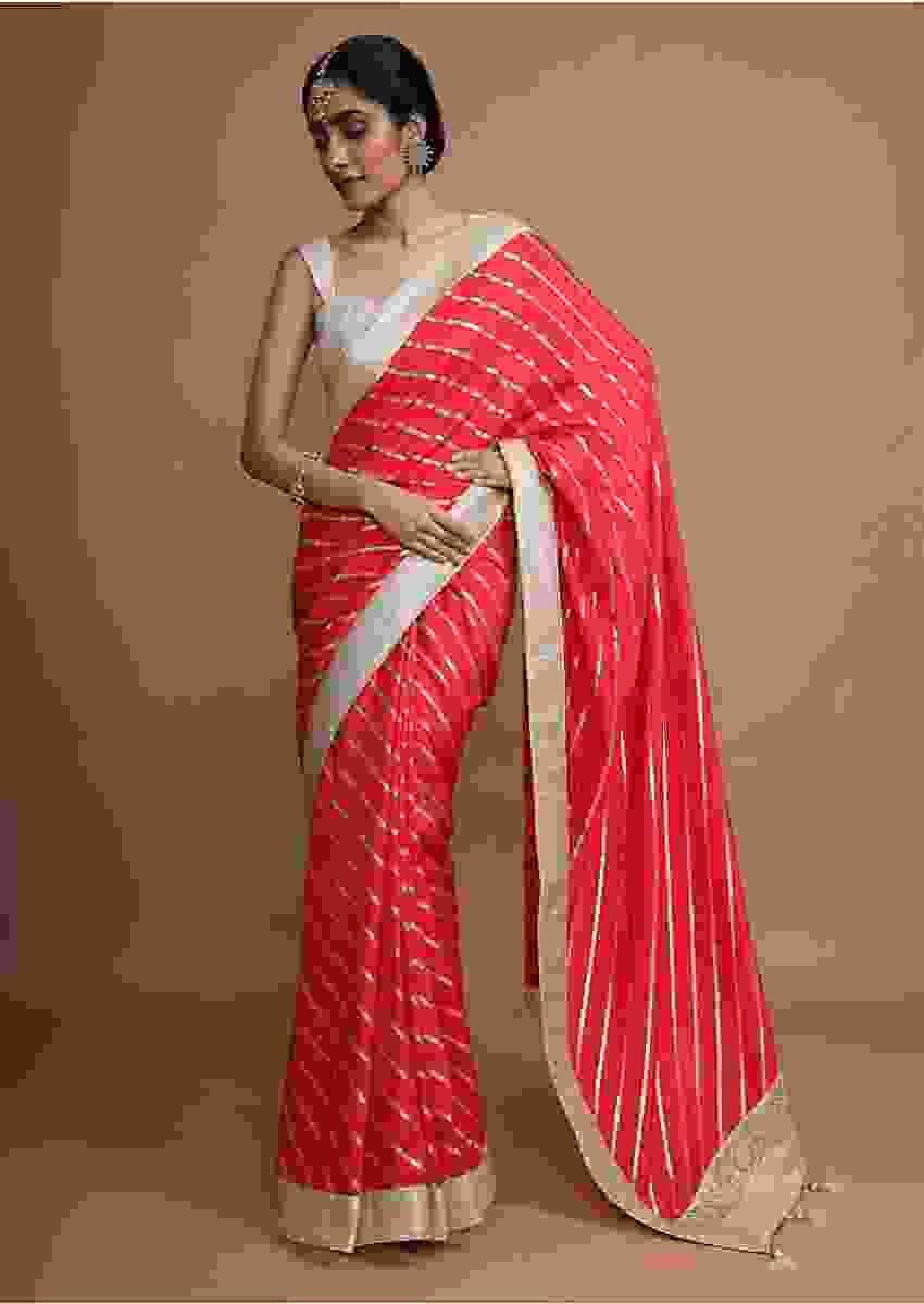 Hot Pink Saree In Silk With Gotta Work Stripes And Border Online - Kalki Fashion