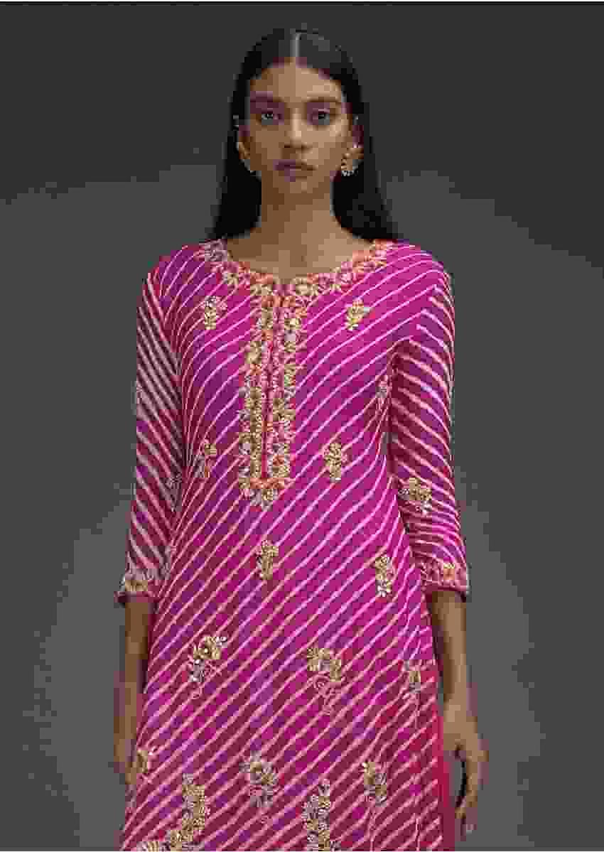 Hot Pink Skirt And Kurta Set With Lehariya Print And Embroidered Floral Motifs Online - Kalki Fashion