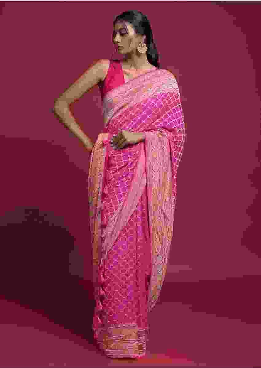 Hot Pink And Magenta Shaded Saree In Georgette With Weaved Geometric Jaal Online - Kalki Fashion