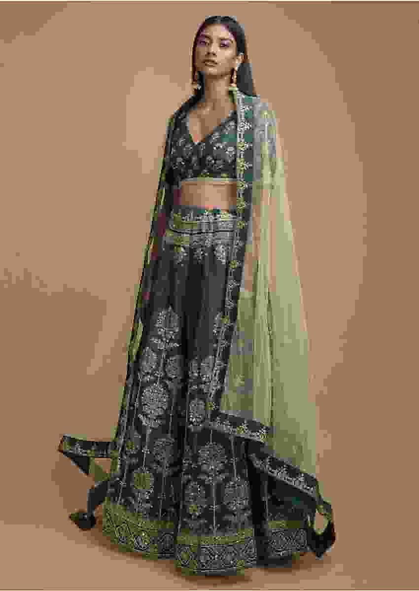 Hunter Green Lehenga Choli In Silk With Foil Printed Tree Motifs In Repeat Pattern Online - Kalki Fashion
