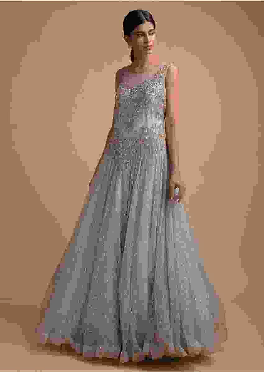Ice Blue Ball Gown Fabricated In Net With Heavy Embroidery In Kundan, Sequins And Zari Work Online - Kalki Fashion