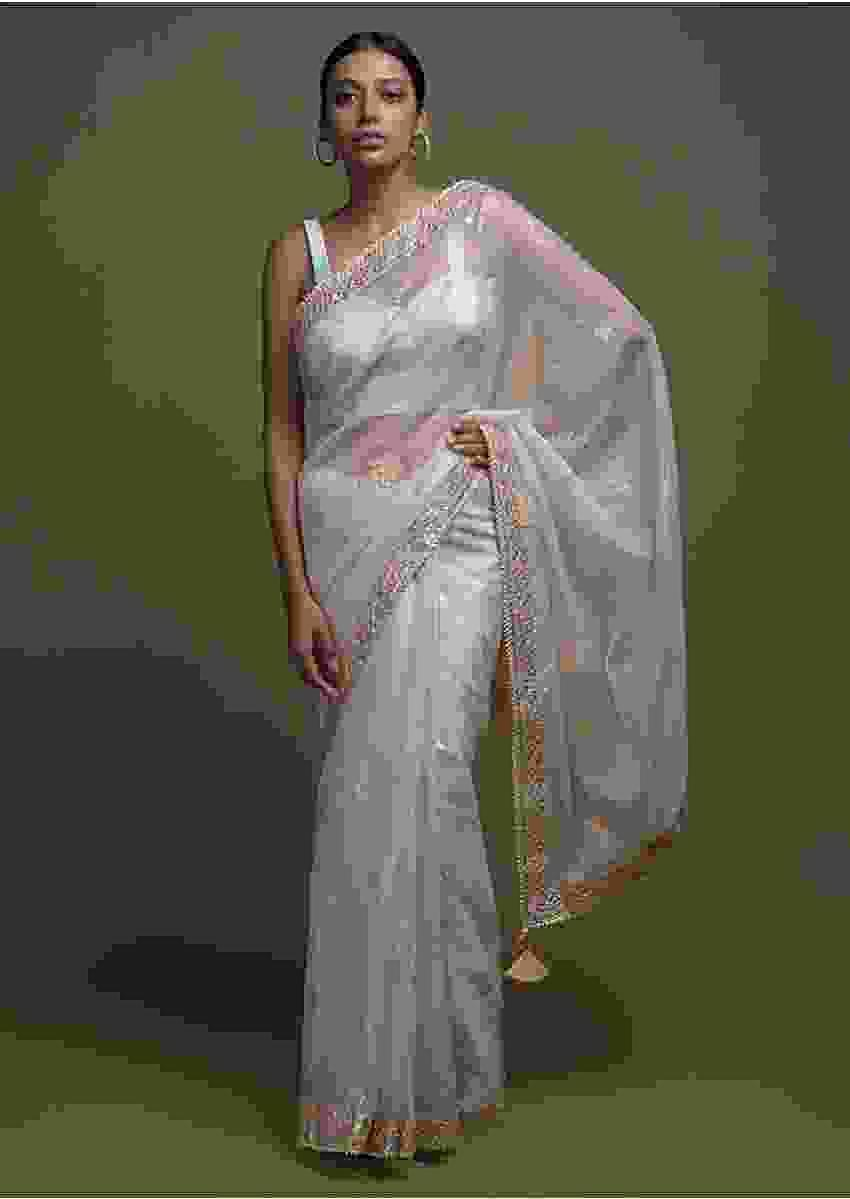 Ice Blue Saree In Organza With Foil Printed Floral Buttis And Gotta Lace On The Border Online - Kalki Fashion