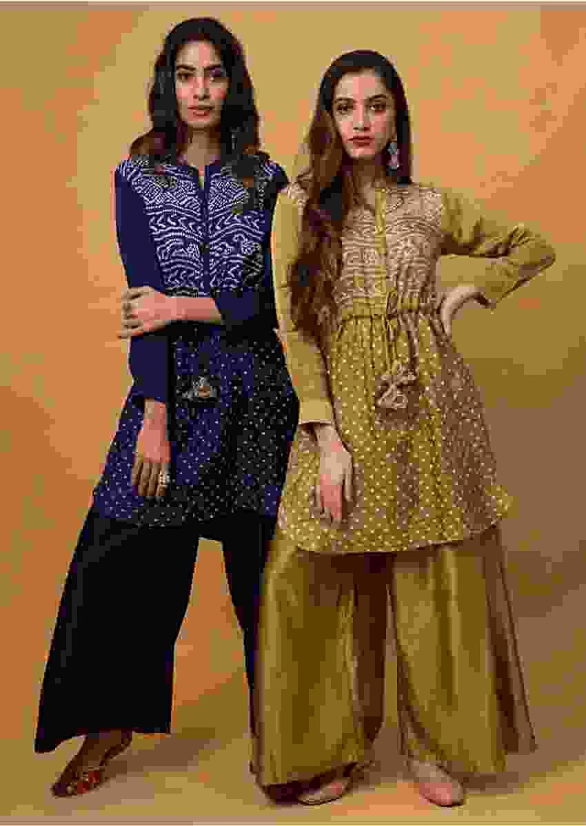 Indigo Blue Palazzo Suit With Real Bandhani Kurta Online - Kalki Fashion