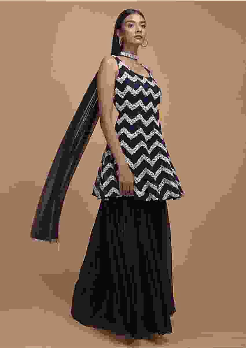 Indigo Blue Sharara Suit In Georgette With Thread And Sequins Embroidered Chevron Pattern Online - Kalki Fashion